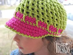 Summer Beanie with Brim and Flower PDF Crochet Pattern