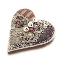 ** Make A Valentine's Day Heart Brooch Gift With Fabric Scraps, Buttons, And Labels @folksy