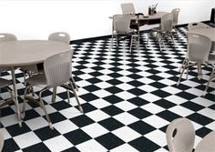 Armstrong's Standard Excelon Imperial Texture using Lemon Yellow and Pumpkin Orange in a cafeteria setting. Flooring Store, Vinyl Flooring, Laminate Flooring, Tile Floor, Base Moulding, Armstrong Flooring, Checkerboard Pattern, Carpet Tiles