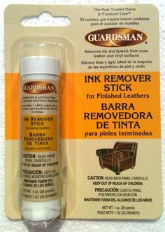 GUARDSMAN Finished Leather & Vinyl Cleaner INK REMOVER STICK 1 oz. (Pack of 2) by Guardsman. $8.97. The Most Trusted Name in Furniture Care. GUARDSMAN Finished Leather & Vinyl Cleaner INK REMOVER STICK 1 oz. (Pack of 2). Removes Ink and Lipstick from Most Leather & Vinyl Surfaces. A Specific Product to Remove Recent Ink Marks or Lipstick Stains from Fully Finished, Pigmented or Top-Coated Leathers or Vinyl Surfaces...Not to be Used on Aniline, Suede, Nubuck or Any Unfi...