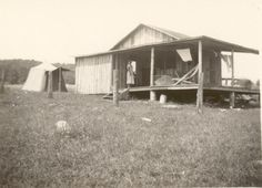 1935:  Martin shack and tent. Lac Pemichangan, Quebec. These photos are from the Martin family photo album from the 1920s through the 1950s. Wilbur and Wanda Martin travelled frequently to Lac Pemichangan from their home in Athens, Ohio, starting sometime in the 1920s. During that time, the Martin and the Knight families hunted, fished, camped and worked together to build some of the earliest cabins on the lake.   blacksdesign.com