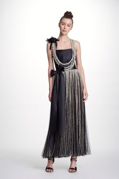 ad12318269d28 MARCHESA COUTURE BLACK CRYSTAL AND PEARL EMBROIDERED TULLE GOWN.  marchesa   cloth