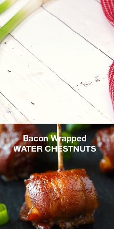 Bacon-Wrapped Water Chestnuts are an easy appetizer that everyone loves. Whole water chestnuts are wrapped in bacon and marinated in a sweet/savory sauce. Bacon Wrapped Appetizers, Yummy Appetizers, Appetizer Recipes, Bacon Wrapped Water Chestnuts, Chestnut Recipes, Gluten Free Puff Pastry, Bacon Recipes, Game Recipes, Noel