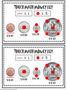 Printables Touch Math Money Worksheets 1000 images about sped on pinterest zones of regulation touch math and special education