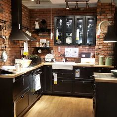 37 best kitchen cabinets ideas and make over 33 Home Decor Kitchen, Rustic Kitchen, New Kitchen, Interior Design Living Room, Interior Livingroom, Kitchen Ideas, Black Kitchens, Cool Kitchens, Black Ikea Kitchen