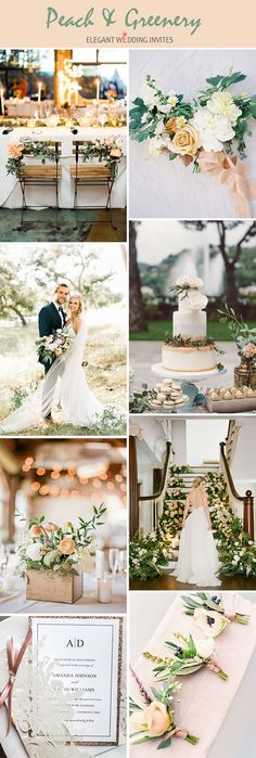 Peach,ivory and foliage summer wedding color palette