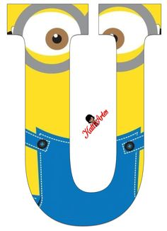 Typography - Minion Alphabet - Letter U Minion Baby, My Minion, Minions Minions, Minion Birthday Banner, Boy Birthday, Minion Craft, Birthday Themes For Boys, Despicable Me, Letters And Numbers