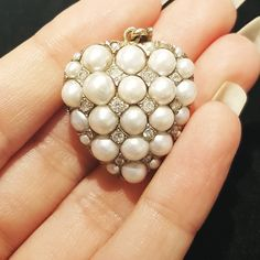 Gorgeous Victorian pearl and diamond heart pendant Diamond Solitaire Necklace, Embellishments, Pearl Earrings, Pearls, Instagram, Diamond Heart, Jewelry, Victorian, Antique