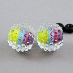 Handmade Lampwork Glass Bead pair. Magma Beads.