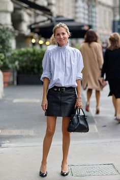 The Anti-Teenage Approach To Wearing Miniskirts (Refinery Victorian Shirt, Victorian Fashion, Chic Outfits, Fashion Outfits, Mini Skirts, Street Style, Stylish, My Style, How To Wear