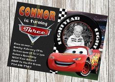 Lightning McQueen Disney Cars Birthday Invitation - Custom with Photo on Etsy, $10.99
