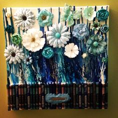 Melted crayon art with flowers