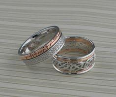 Custom Wedding Rings Celtic Styles in White & Rose Gold