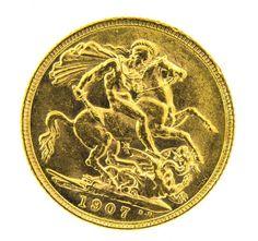 MOEDA LIBRA ESTERLINA DE 1907, EDWARD VII EM OURO 22K, ..