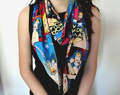 female #Superhero infinity scarf. #Batgirl #WonderWoman