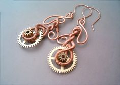 Steampunk Earrings Wire Wrapped Copper and Cogs by bleek70.deviantart.com on @deviantART