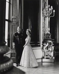 Prince Philip, Duke of Edinburgh; Queen Elizabeth II  by Lord Snowdon  bromide print, 10th October 1957