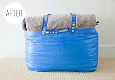 """ikea bag to pack up bedding - or """"guest room"""" in a bag!"""