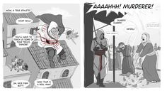 Just some minor differences. Ezio in Assassin's Creed: II. Altair in Assassin's Creed.