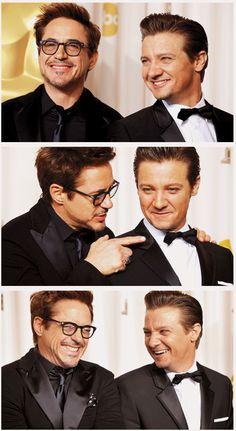 Robert Downey Jr. & Jeremy Renner @ the Oscars, 2-24-13 - The first one really is a school picture smile for sure !