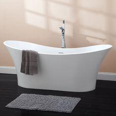 """69"""" Avoca Freestanding Resin Double Slipper Tub"""