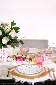 This white u0026 pink Christmas table setting is perfect for celebrating the season with a girls & White u0026 Pink Christmas Table Setting | happy christmas | Pinterest ...