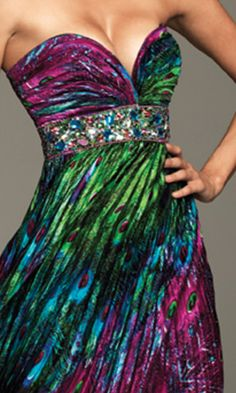 Gorgeous! Strapless Peacock Print Dress - now if i only had somewhere to wear it...  $378.00