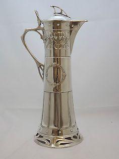 Magnifico-Wmf-Art-Nouveau-secesionistas-Jugendstil-Plata-Placa-Claret-Jarra Art Nouveau, Wmf, Cutlery, Silver Plate, Tea Pots, Russia, Ebay, Luxury, Gold