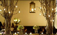 Tree Branch Wedding Reception Centerpieces - we used a lot of tree branches at our ceremony & reception! Tree Branch Centerpieces, Gold Wedding Centerpieces, Tree Branch Decor, Tree Branches, Wedding Decorations, Table Decorations, Centerpiece Ideas, Rustic Centerpieces, Church Decorations