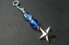 Beaded Charm. Shooting Star Charm. Blue Star Pendant. Key Chain Zipper Pull Purse Charm or Phone Charm. by Gilliauna from Bits n Beads by Gilliauna. Find it now at http://ift.tt/2a2QDf5!