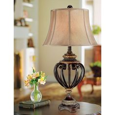 """Open Iron Scroll 36"""" High  Urn Table Lamp"""