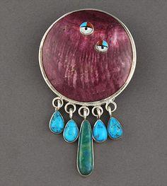 Silver & Stones Pin/ Pendant by Veronica Poblano (Zuni)