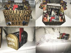Girlfriend withdrawal survival kit and open when letters gift idea for boyfriend leaving for college