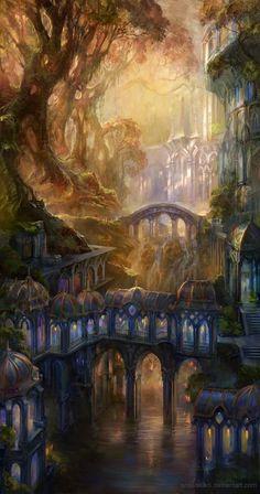 Concept Art by Snow Skadi - Fantasy - Kunst Fantasy City, Fantasy Places, Fantasy Kunst, Fantasy World, Fantasy Village, Fantasy Forest, Fantasy Castle, Magic Forest, Fantasy Books