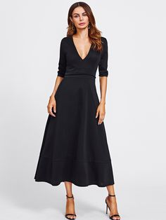 615dcb9cb674 To find out about the Deep V Neckline Long Dress at SHEIN, part of our  latest Dresses ready to shop online today!