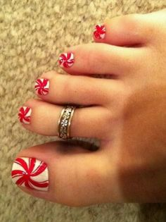 Candy red white toes  I think this would be so cute for Christmas!