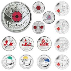 A decade of coloured circulation coins Canada Memes, Canada Eh, Give Me My Money, Canadian Things, Valuable Coins, Coins Worth Money, Coin Worth, Canadian History, Old Money