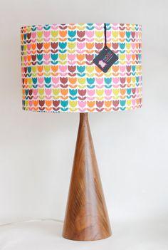 Lamp Shade - 14 Drum - Tulips - Pink Orange Green - Organic Cotton Sateen - Washer Top / Harp Fitting