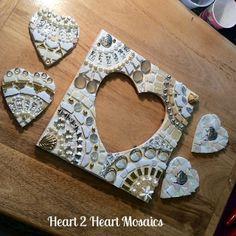 Heart Mosaics Ready to Grout #groutingday #mosaic #weddingmosaic #whitemosaic #stainedglass #heart2heartmosaics #cindyharris