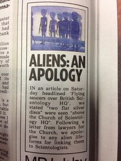 Sorry, aliens. | 24 Spectacular Newspaper Corrections