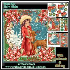 Mini Kit Holy Night 5 on Craftsuprint designed by Di Simpson - Beautiful 3 page 7x7 Christmas topper,pyramide,cut