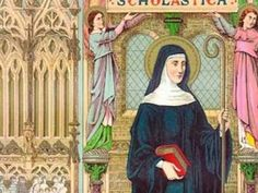 Saint of the Day - February 10 - St Scholastica Virgin & Foundress c480-543 -Patron of convulsive children; nuns; invoked against storms and rain; #pinterest Twins often share the same interests and ideas with an equal intensity. Therefore, it is no surprise that Scholastica and her twin ..........| Awestruck Catholic Social Network