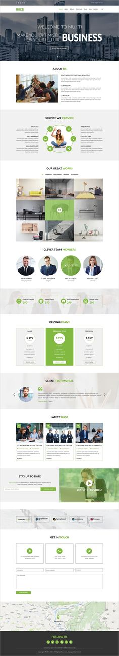 Mukti is a clean, modern and professional #PSD template for #onepage corporate business website download now➩ https://themeforest.net/item/mukti-one-page-multipurpose-psd-template/19636023?ref=Datasata