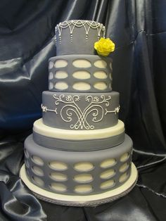Yellow and White Wedding Cakes | Grey and White Elegant Wedding Cake — Round Wedding Cakes