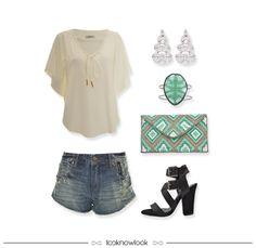 Summer Style   Bata ampla, short jeans, brincos prateados, bracelete pedra turquesa, clutch bordada e sandália com tiras.   Chiffon blouse, denim short, earrings, turquoise bracelet, clutch and strap sandals. #moda #look #outfit #looknowlook