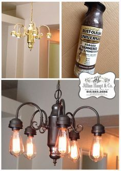 Jillian's Daydream Being Frugal, spray paint light fixture, edison bulbs, industrial is part of Painting light fixtures - Painting Light Fixtures, Light Painting, Painting Ceiling Fans, Spray Painting, Diy Light Fixtures, Painting Chandeliers, Black Painting, Vintage Light Fixtures, Iron Chandeliers