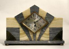 An Art Deco marble clock garniture,