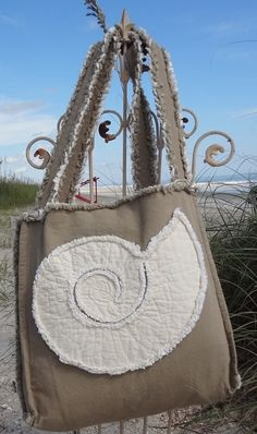 Sea Beach Bag - Nautilus Ivory on Khaki