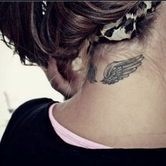 Angel Wing Back of Neck Tattoo.