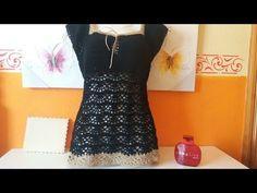 Fabulous Crochet a Little Black Crochet Dress Ideas. Georgeous Crochet a Little Black Crochet Dress Ideas. Crochet 101, Crochet Videos, Easy Crochet, Crochet Lace, Crochet Stitches, Crochet Bodycon Dresses, Black Crochet Dress, Crochet Blouse, Crochet Summer Tops